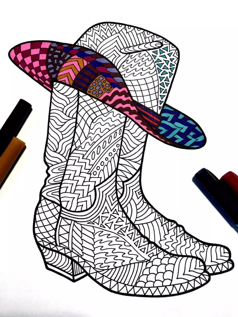 27++ Cowboy boots and hat coloring page download HD
