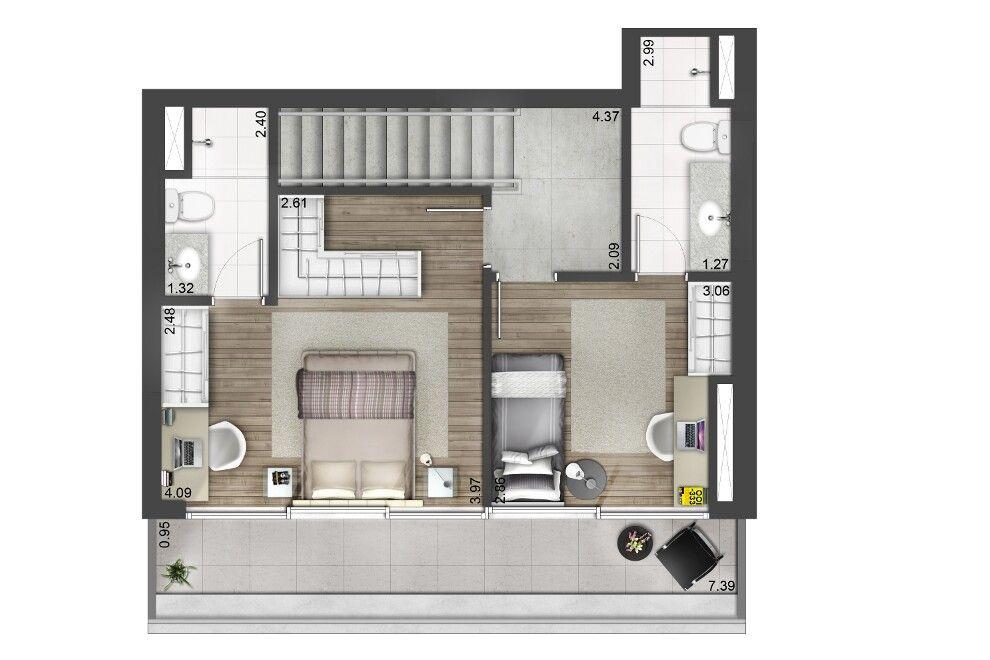 EVEN - Apartamentos novos à venda com alto padrão de qualidade - plan maison etage m