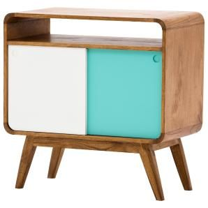 Retro-Chick mal anders: Das kompakte Sideboard fasziniert durch seine Form und die türkise und weiße Schiebetür.