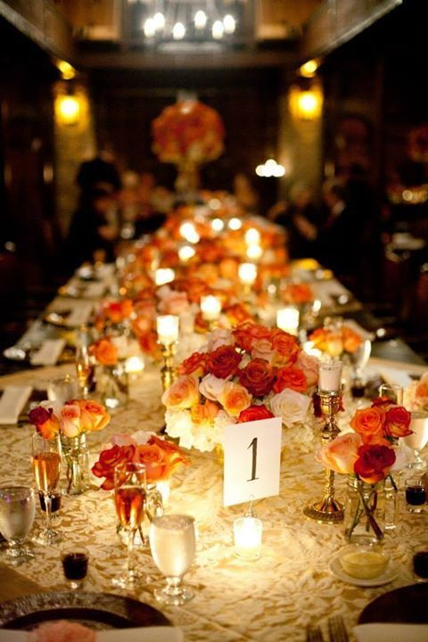 Centerpiece Royal Table Long Table Ivory Roses High