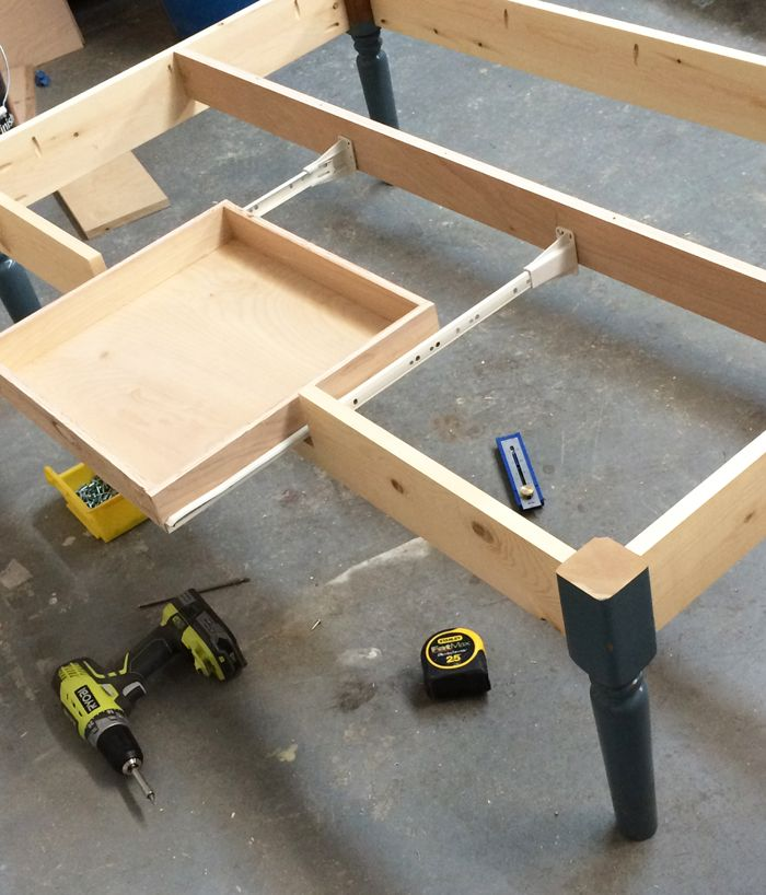 Turned Leg Coffee Table with Apron Drawer | Diy coffee table ...