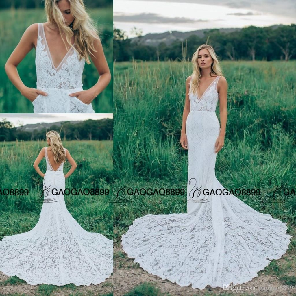 lihi hod elegant lace long train boho country mermaid wedding