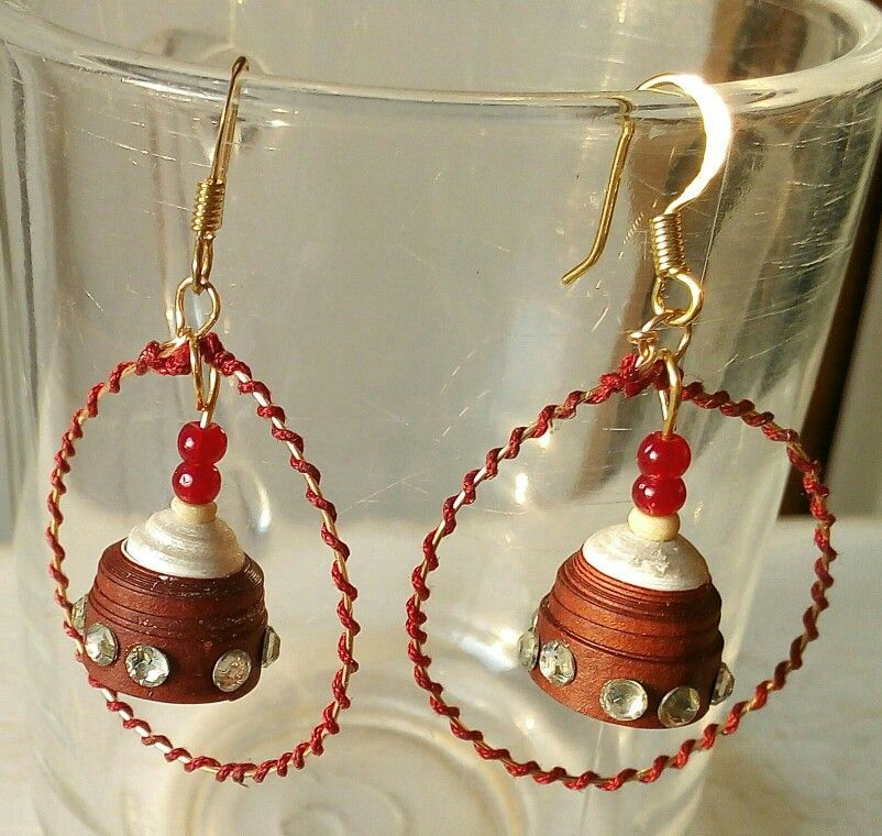 Threaded hoops with quilled jhumkas
