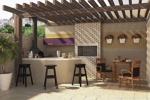 Área externa simples com churrasqueira | Pesquisa e Simples