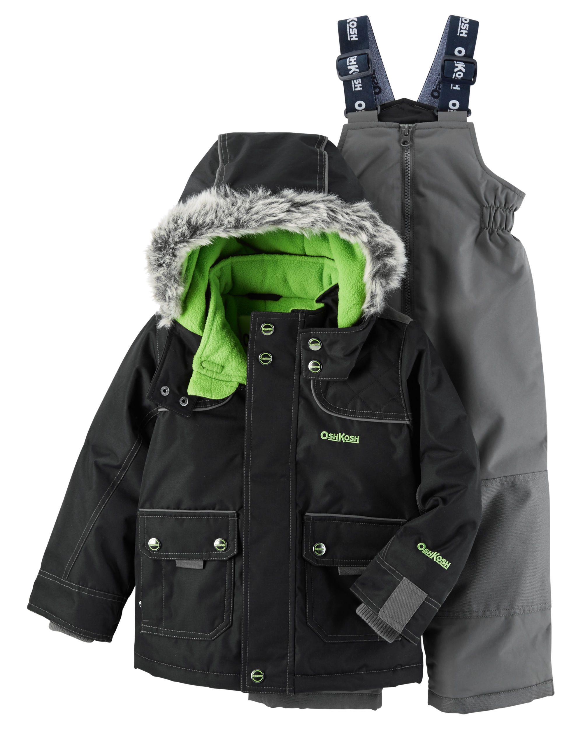 e02a32422 Toddler Boy 4-Piece Fleece-Lined Snowsuit Set
