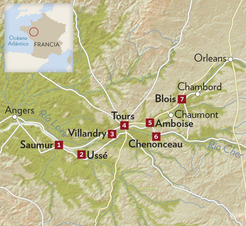 Castillos Del Loira Mapa.Ruta De Los Castillos Del Loira En 2019 Castillos Del