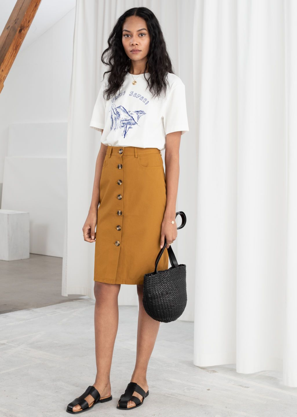 764cf7dda Cotton Twill Workwear Skirt - Tan - Midi skirts - & Other Stories ...