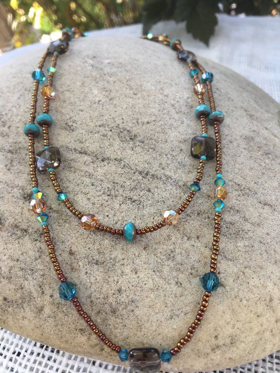 Double Strand Beaded Necklace, Blue Zircon Swarovski