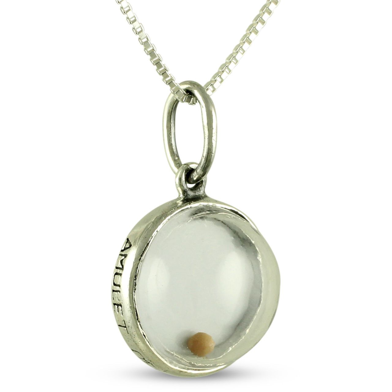 This is an image of the front of the mustard seed pendant dangling this is an image of the front of the mustard seed pendant dangling from the sterling silver box chain aloadofball Choice Image