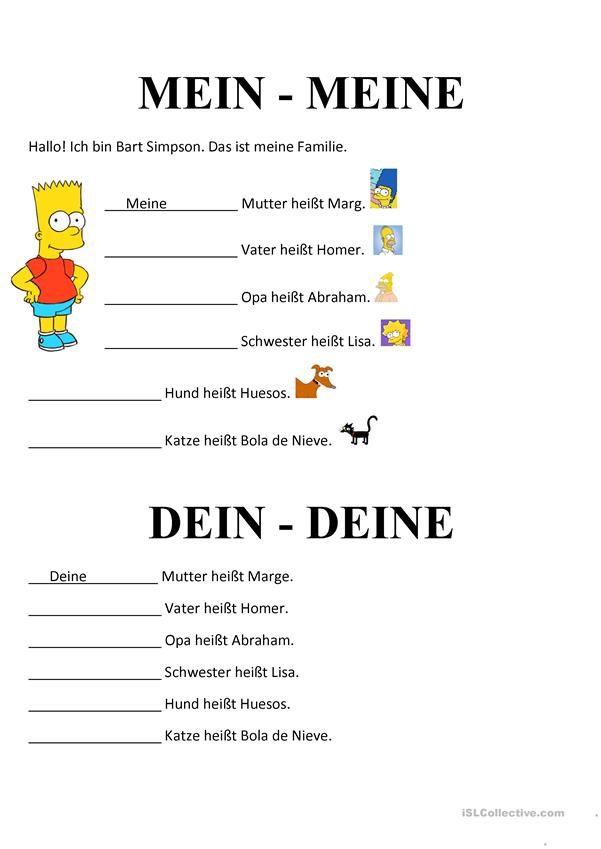 Possessivartikel   Lernen, Deutsch und Kind