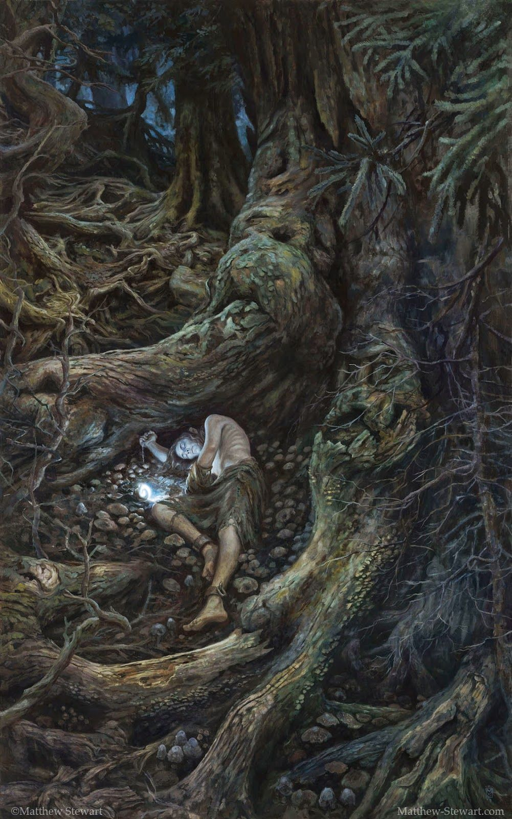 "In the Forest Under Night by Matthew Stewart - This is a scene from the tale by J.R.R. Tolkien that appears in both The Silmarillion and in a longer form in The Children of Hurin. Gwindor is a Noldor Elf lord captured in ""The Battle of Unnumbered Tears"". At this catastrophic defeat Gwindor was kept alive as a slave. He escaped into the forest Taur-nu-Fuin, which means ""great forest under night"". He lost a hand in his escape, and carries a Feanorian lamp."