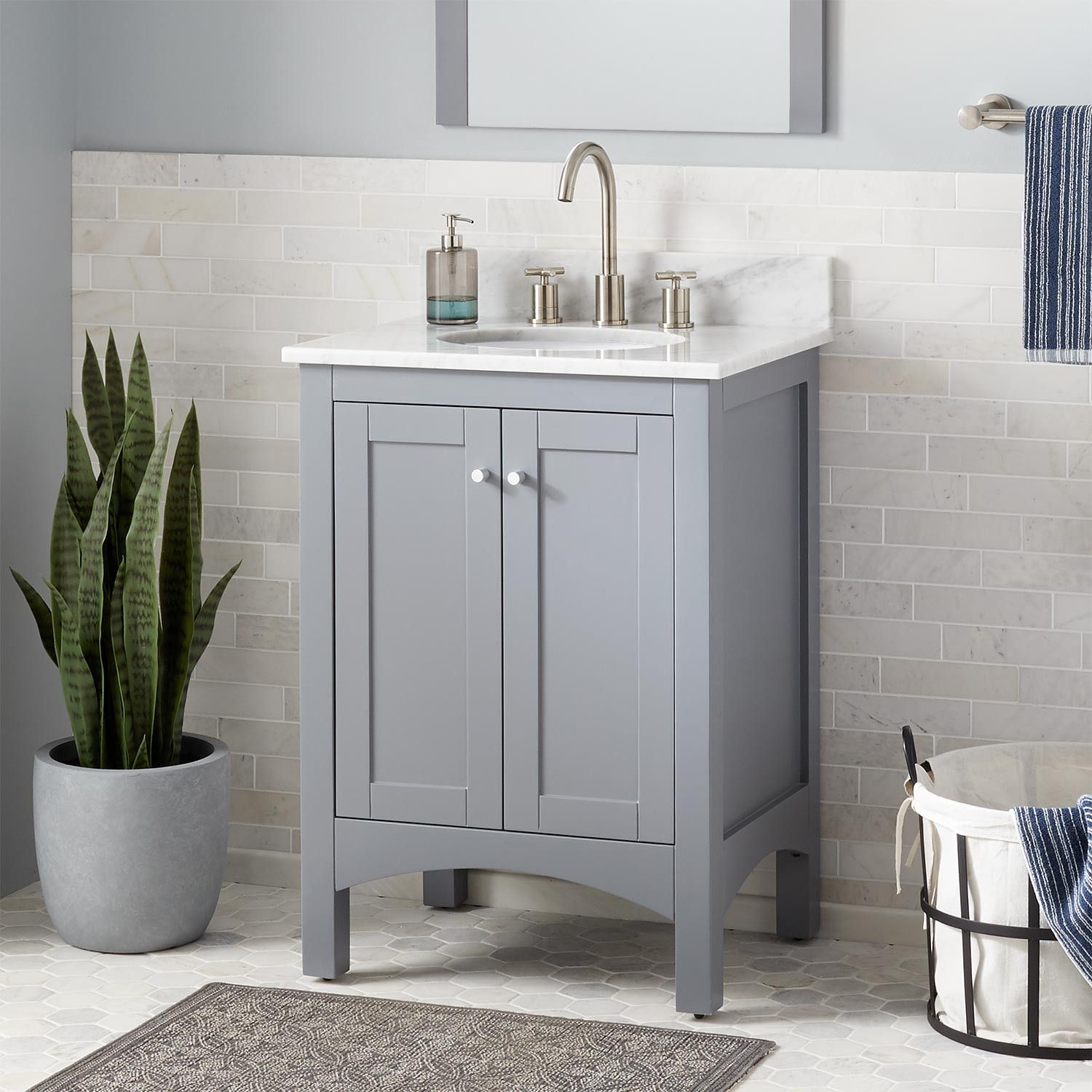 24 Narrow Depth Strevel Vanity For Undermount Sink Gray