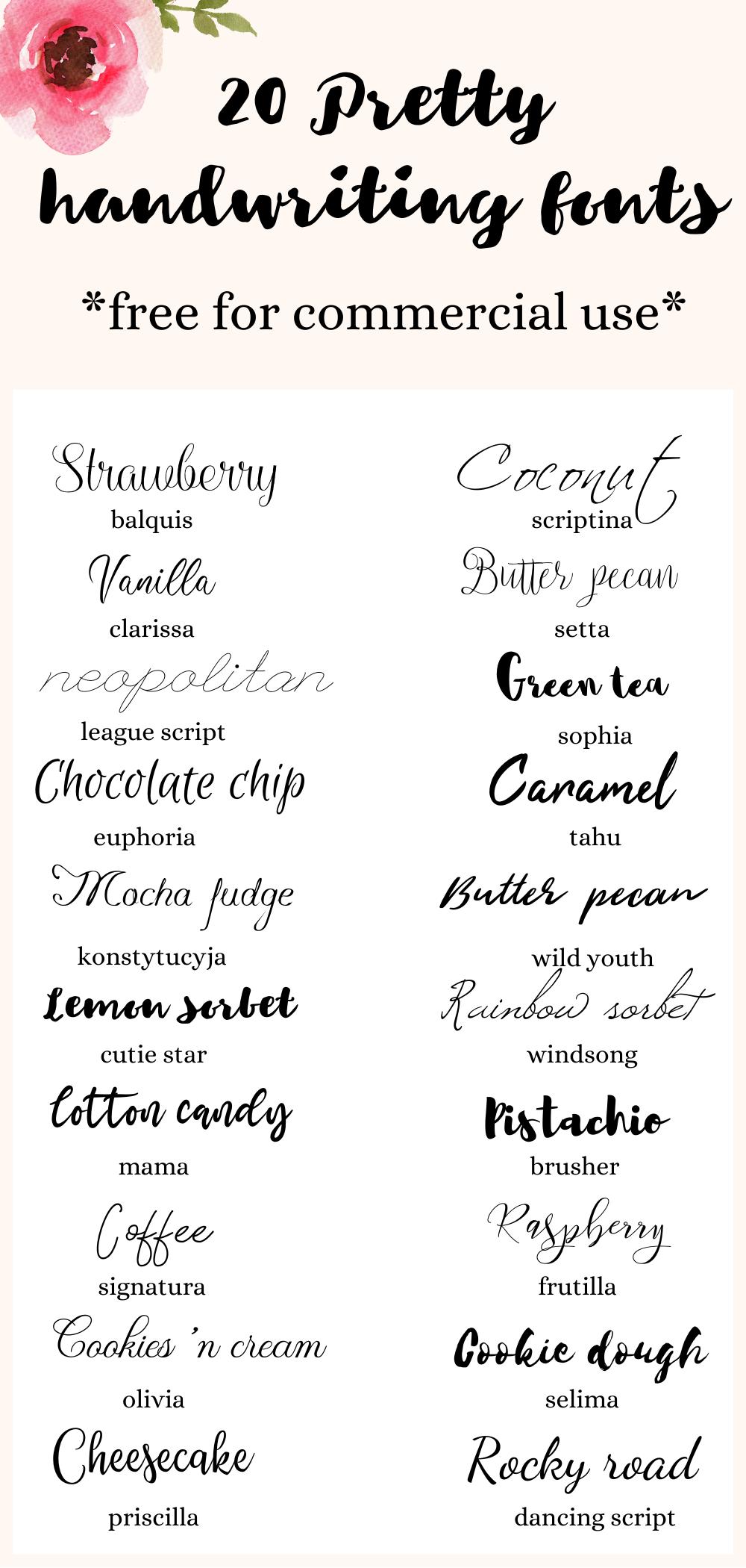 20 Beautiful and feminine handwriting fonts, free for