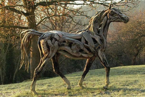 Horse made entirely of driftwood.