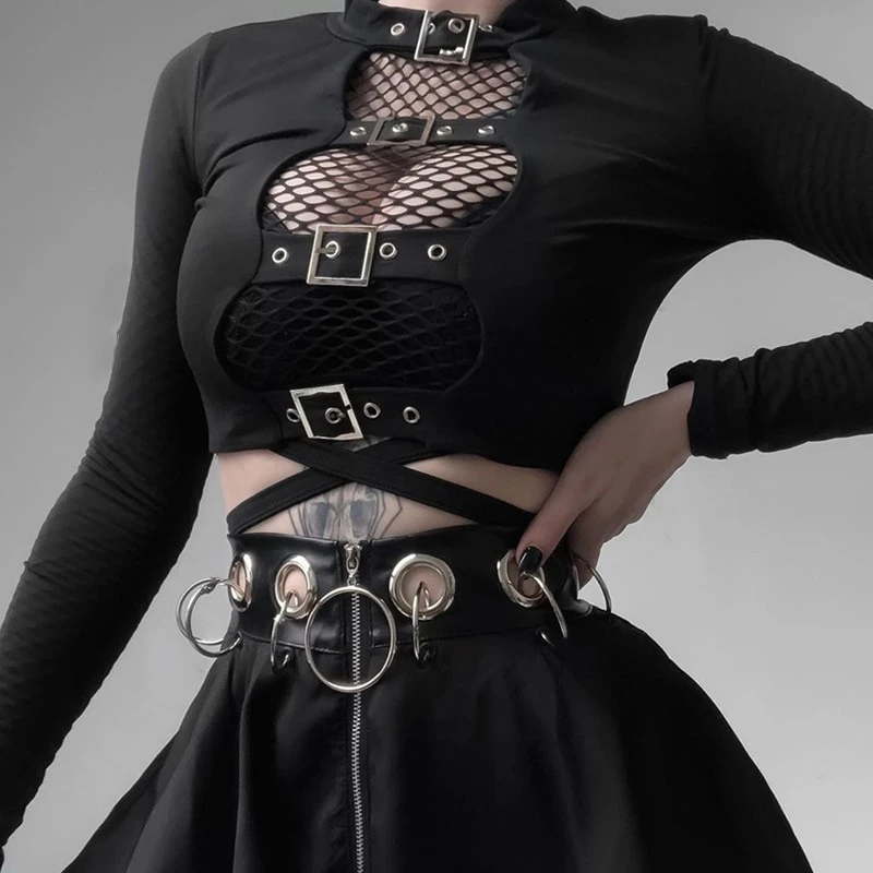 Crop Top with Buckle / Long Sleeve womens gothic clothing / Punk Black Tops