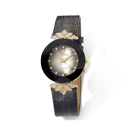 Croton Faceted Crystal Leather Band Watch