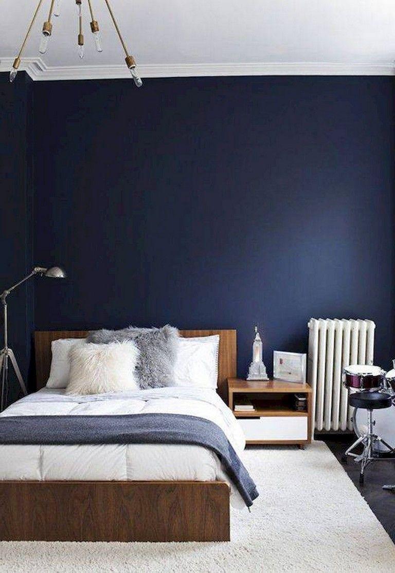52 Comfy Small Bedroom Design And Organization Ideas Blue Bedroom Design Blue Bedroom Walls Small Bedroom Decor