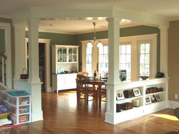 Low Walls Interior Columns Traditional Home Remodeling