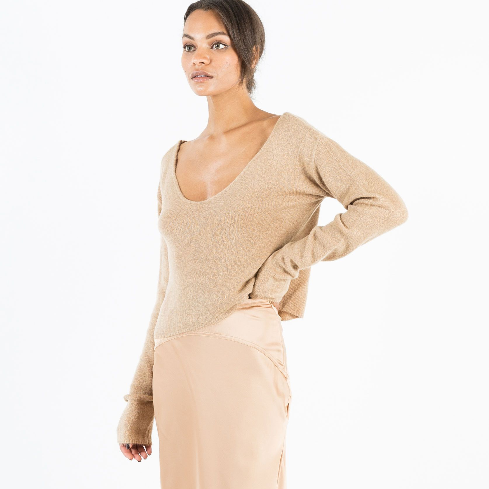 Nova V-Neck Cropped Sweater (Camel) | Products | Pinterest ...