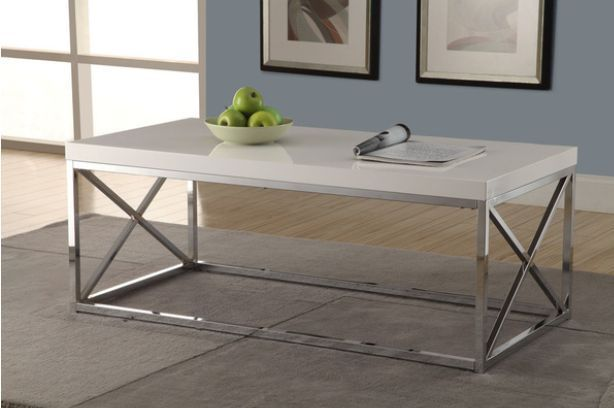 Glossy White Chrome Modern Monarch Metal Cocktail Table End Tables