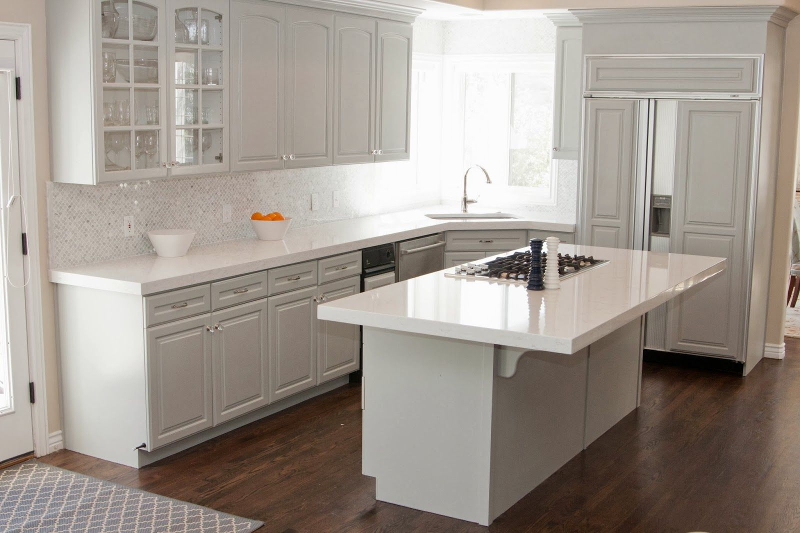 Countertop ideas for white cabinets google search for Kitchen cabinets with x