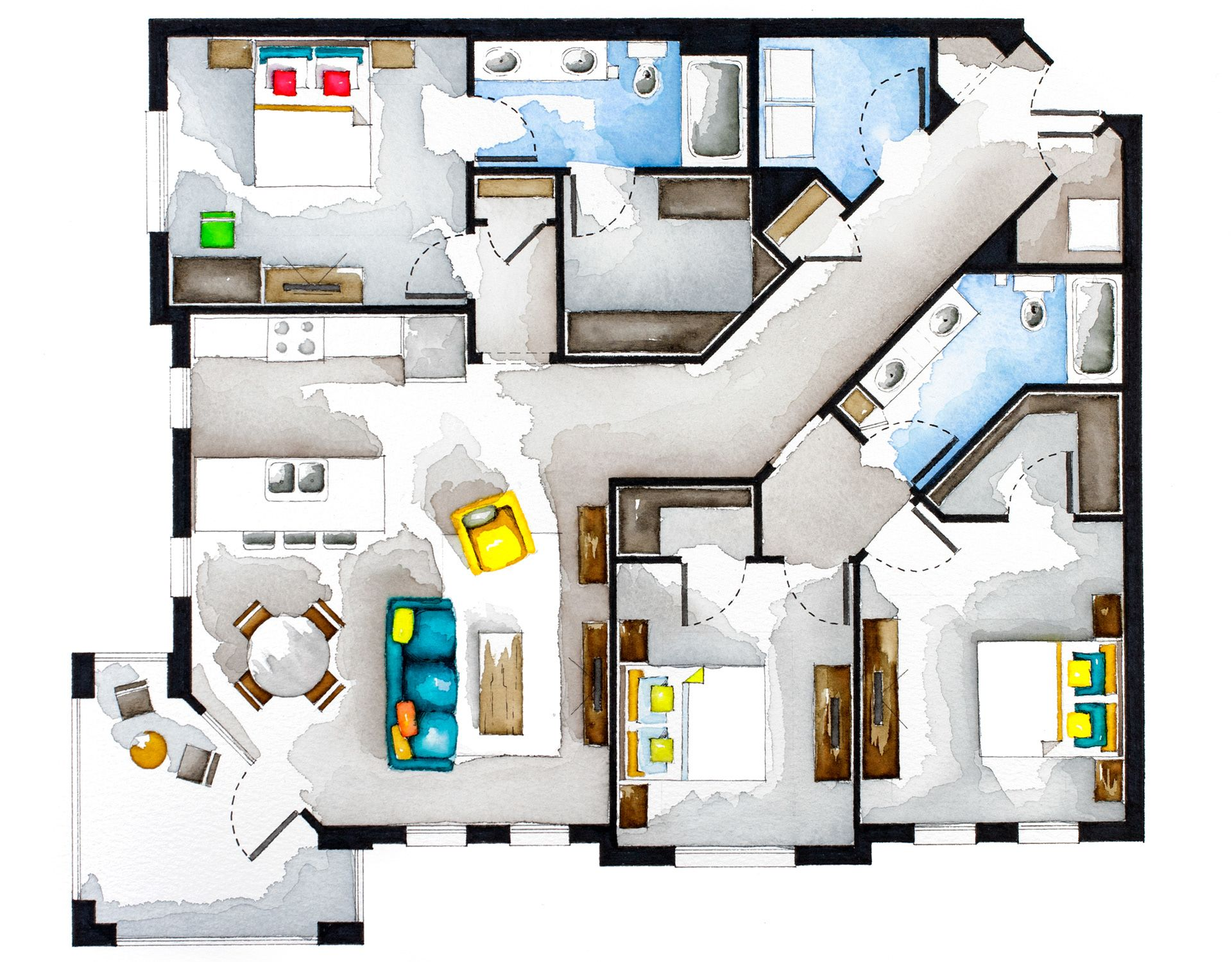 Real Estate Watercolor 2d Floor Plans Part 4 On Behance Floor Plans Interior Design Drawings How To Plan
