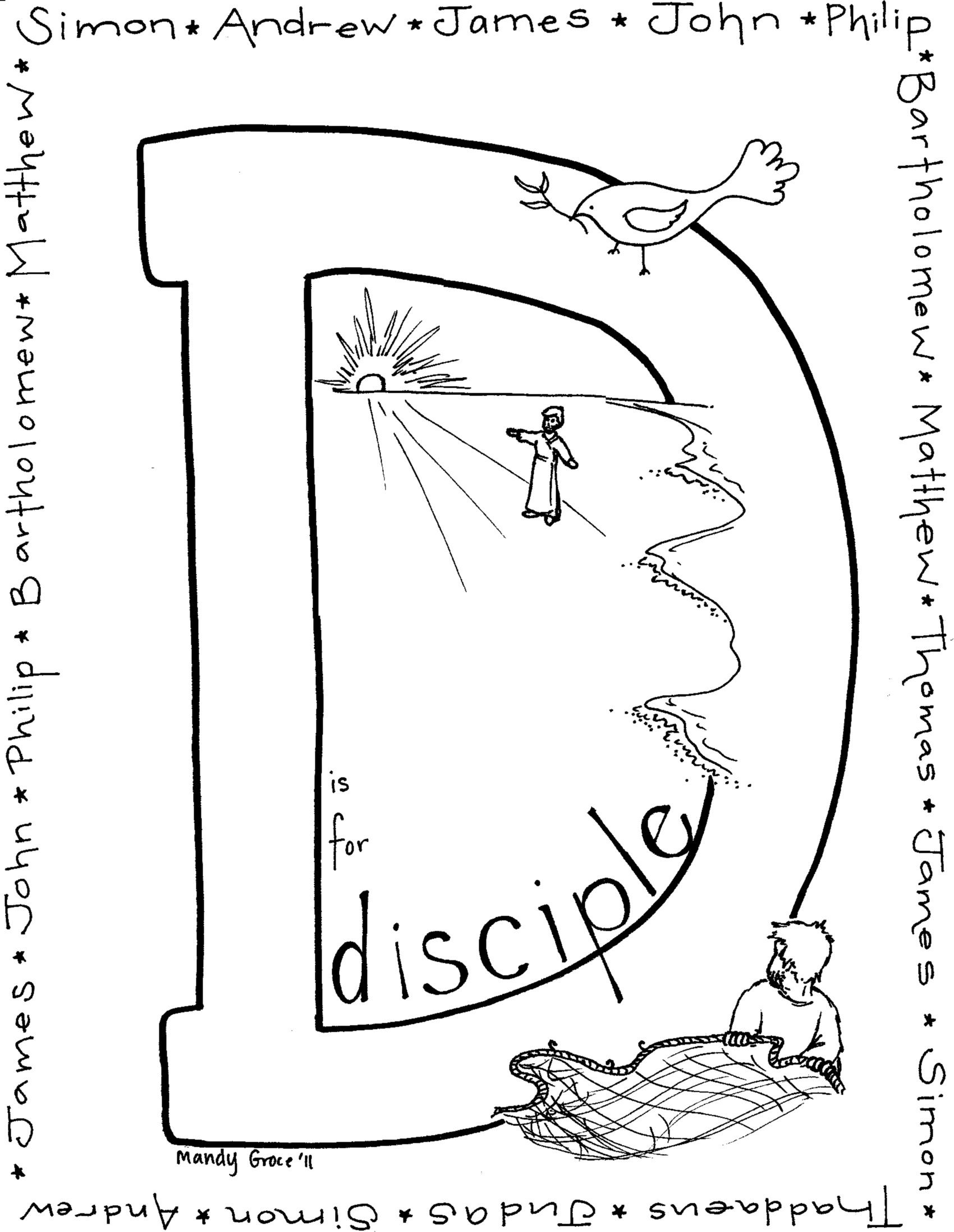 Disciple coloring page  Stuff for Kids  Pinterest  Sunday