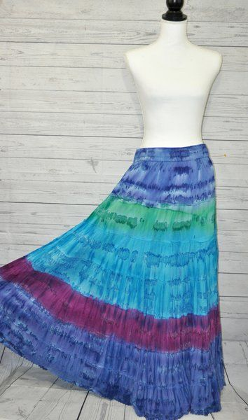 Hippie Skirt Women/'s Maxi Skirt BlueGreenPurple Maxi Skirt Tie Dye Maxi Skirt Festival Skirt