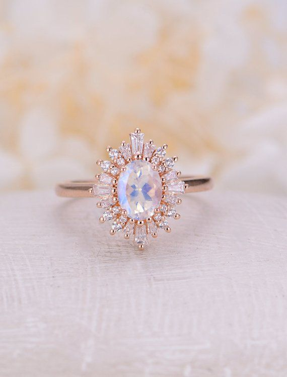 Photo of Art deco Oval Moonstone engagement ring vintage Unique engagement ring for  rose gold Halo band Baguette stone Bridal Anniversary