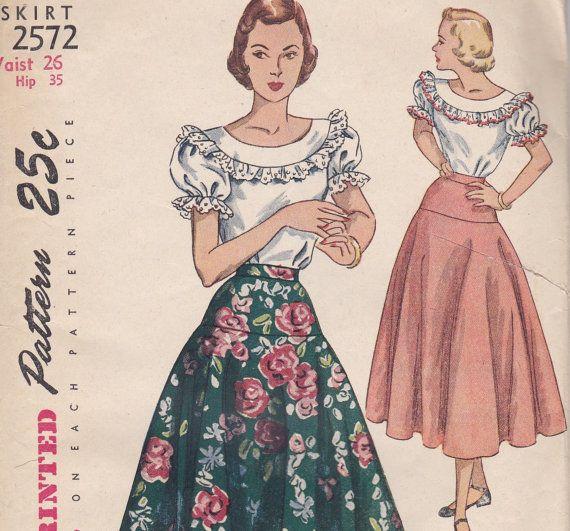 1950s Flared Yoke Skirt Pattern Simplicity 2572 Waist 26
