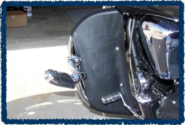 Motorcycle engine guards I sewed to help block wind and rain.