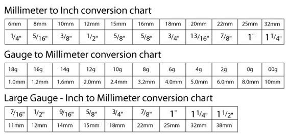 Gauge Sizes In Mm And Inches Google Search Jewelryaccessorys