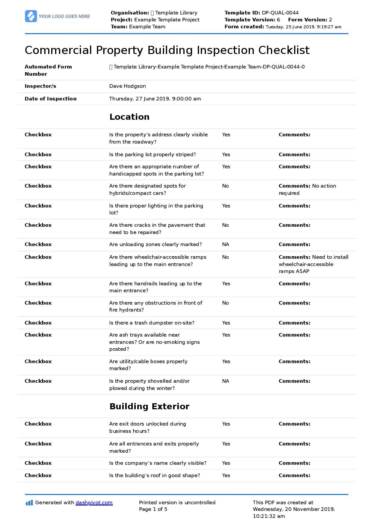 Commercial Building Inspection Checklist Quicker Easier In Commercial Property Inspection Report Inspection Checklist Checklist Template Commercial Property