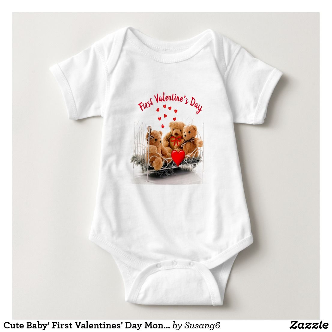 Cute Baby' First Valentines' Day Monogram #babyclothes #teddybear  #valentinesday