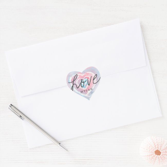 Personalized Watercolor and Crayon Heart Stickers | Zazzle.com
