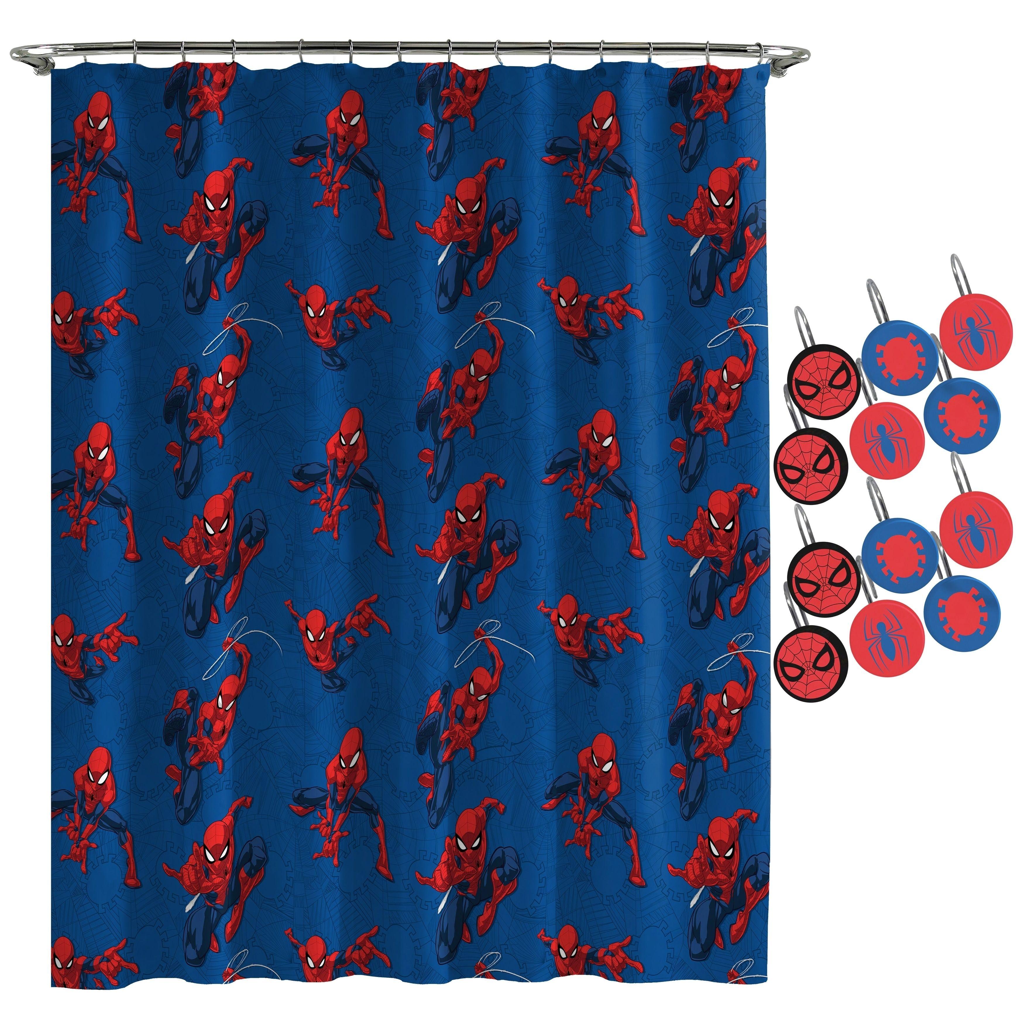 Spiderman Spidey Crawl Shower Curtain And Hooks Marvel
