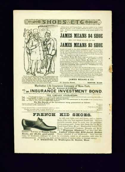 James Means 4 Shoe 1 2 Pg Ad French Kid Shoes 1887 Vintage Ads