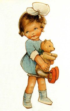 Vintage Girl with Teddy Bear