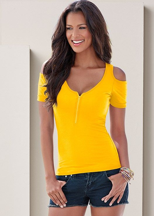 36150c082a Venus Women s Cold Shoulder Zipper Top Tops - Yellow