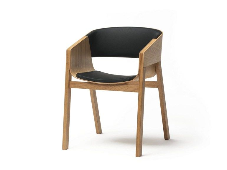 Upholstered solid wood chair with armrests MERANO | Chair with armrests by TON