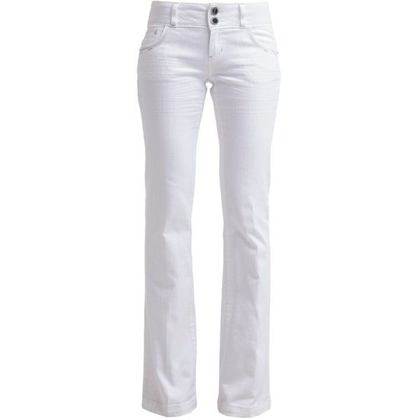Morgan PIQUEN Bootcut jeans blanc ($48) ❤ liked on Polyvore featuring white