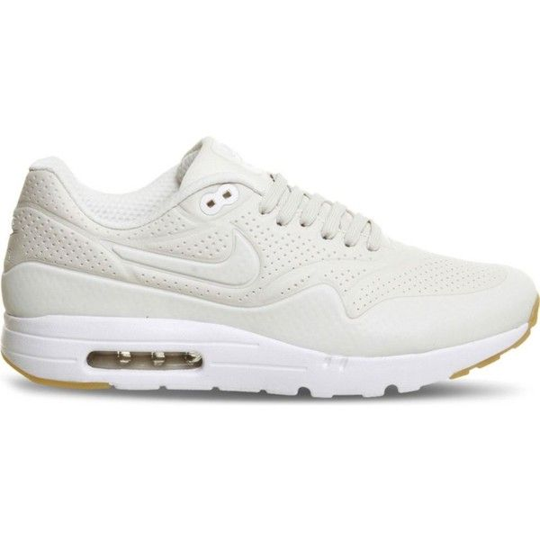 NIKE Air Max 1 Ultra Moire trainers (535 BRL) ❤ liked on Polyvore featuring shoes, sneakers, phantom white gum, rubber sole shoes, round cap, cut out sneakers, white shoes and nike footwear