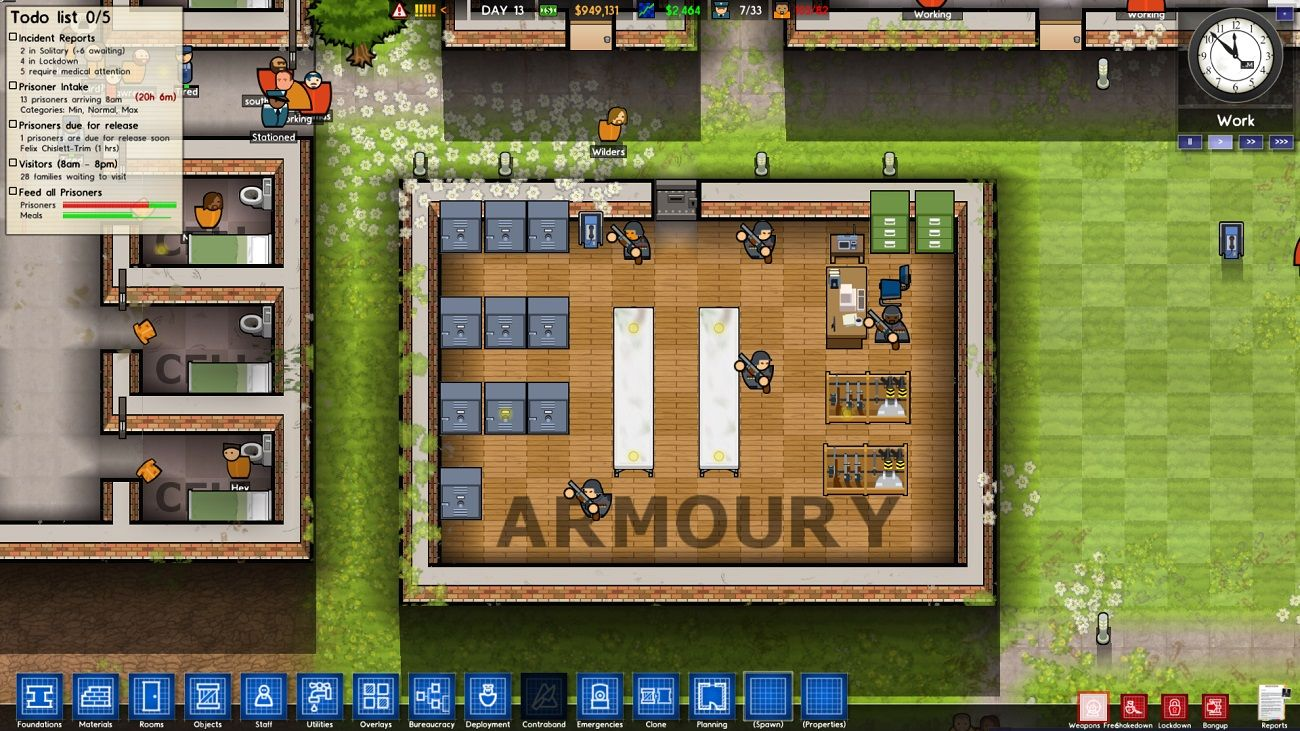 Prison Architect Alpha 17 Adds Armory Armed Guards Forest And Object Filter