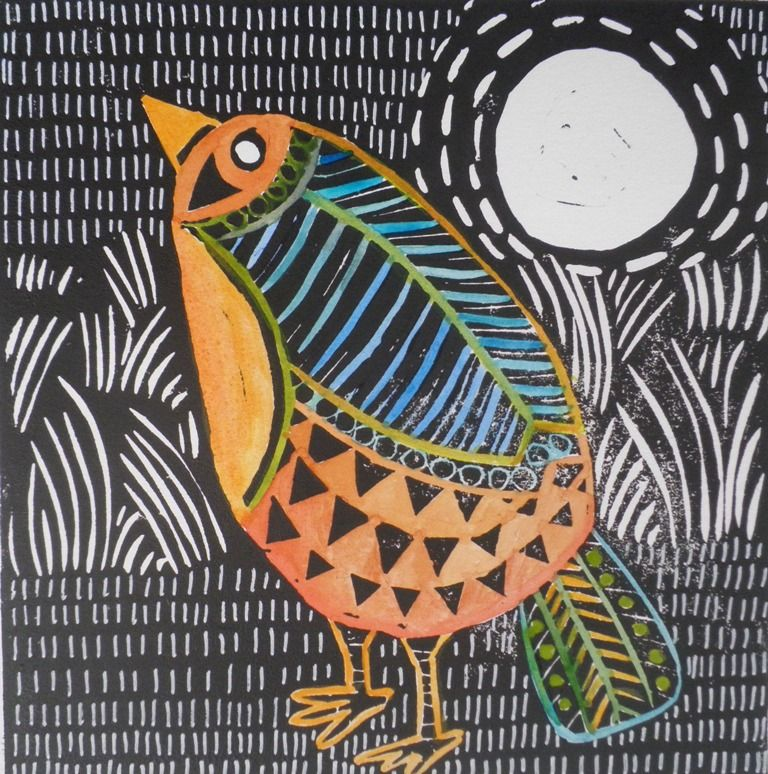 Hand Colored Linocut By Jacky Williams Ive Been Fond Of Art