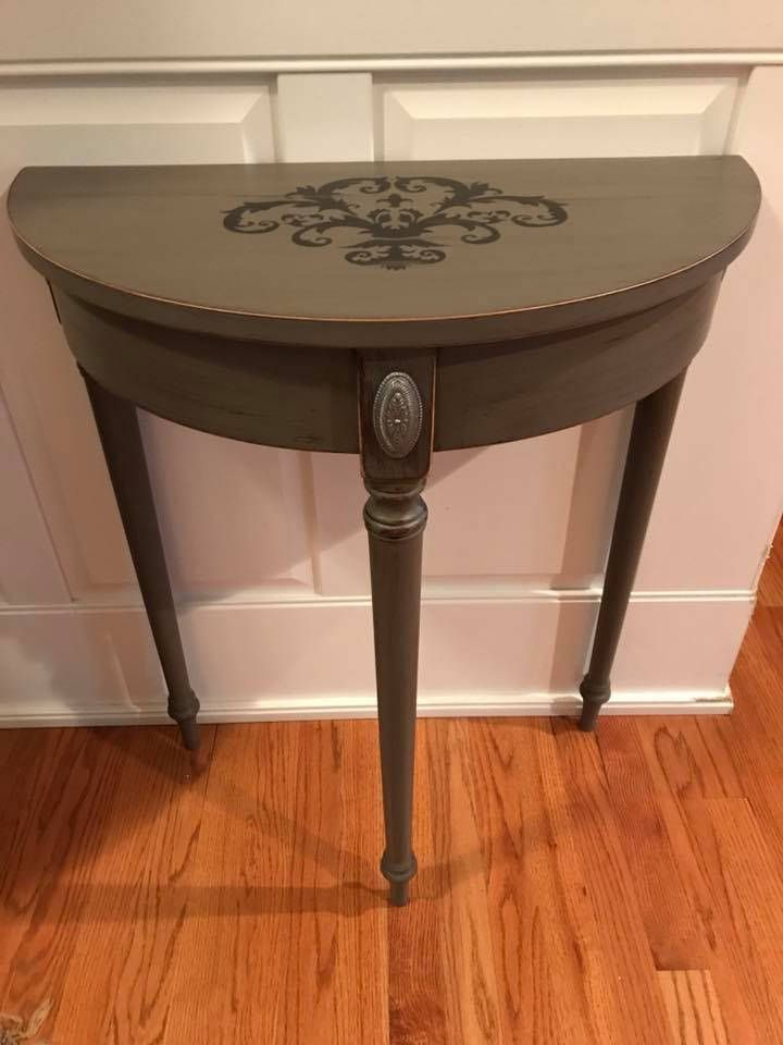 Painted Shabby Chic Foyer Table Stencil Distressed By WoodenHook23 On Etsy