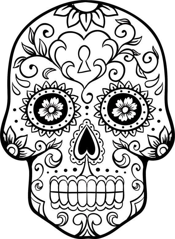 Easy Colorful Sugar Skull Drawings Sugar Skull Outline Day Of