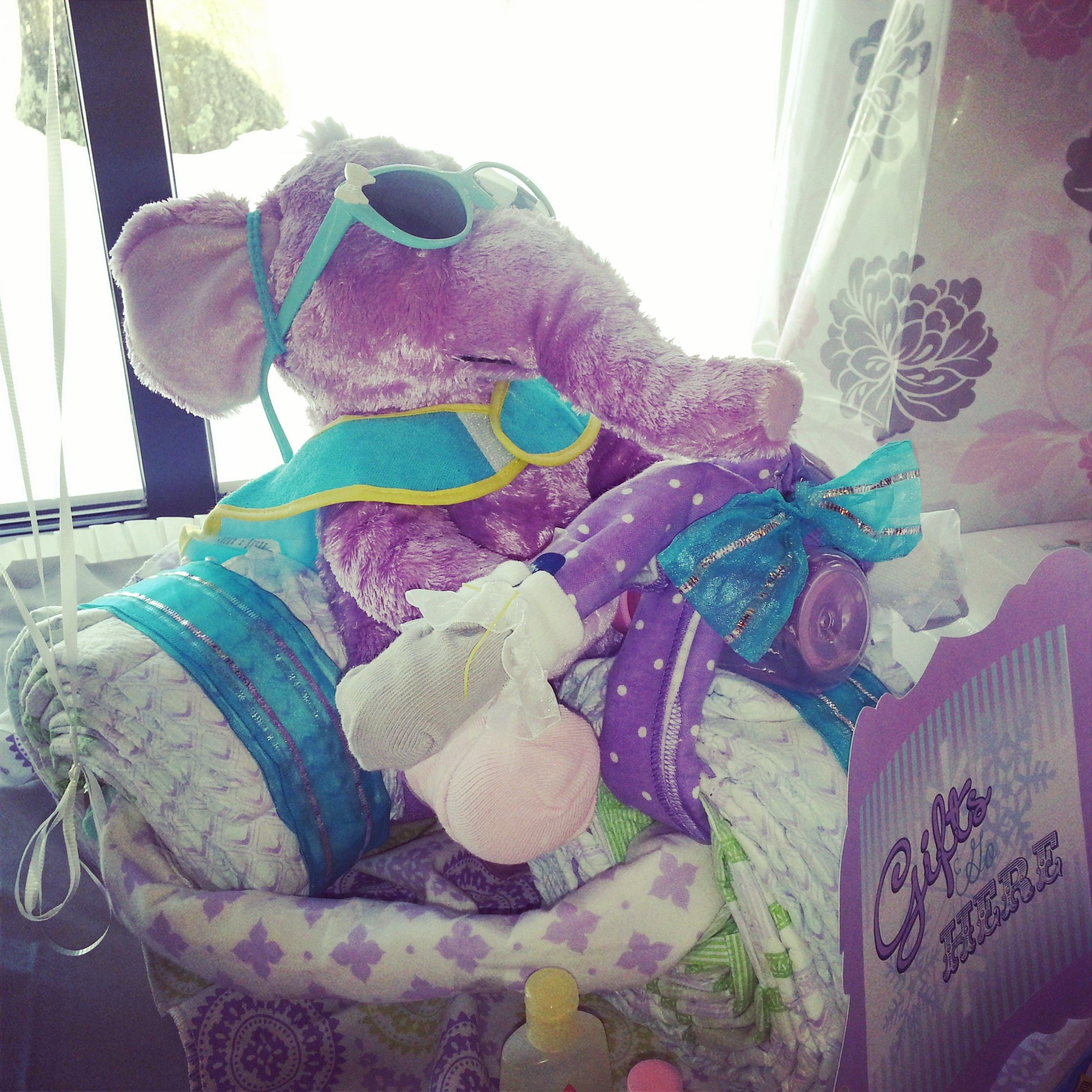 Winter Carnival Themed Baby Shower (purple, aqua) diaper tricycle