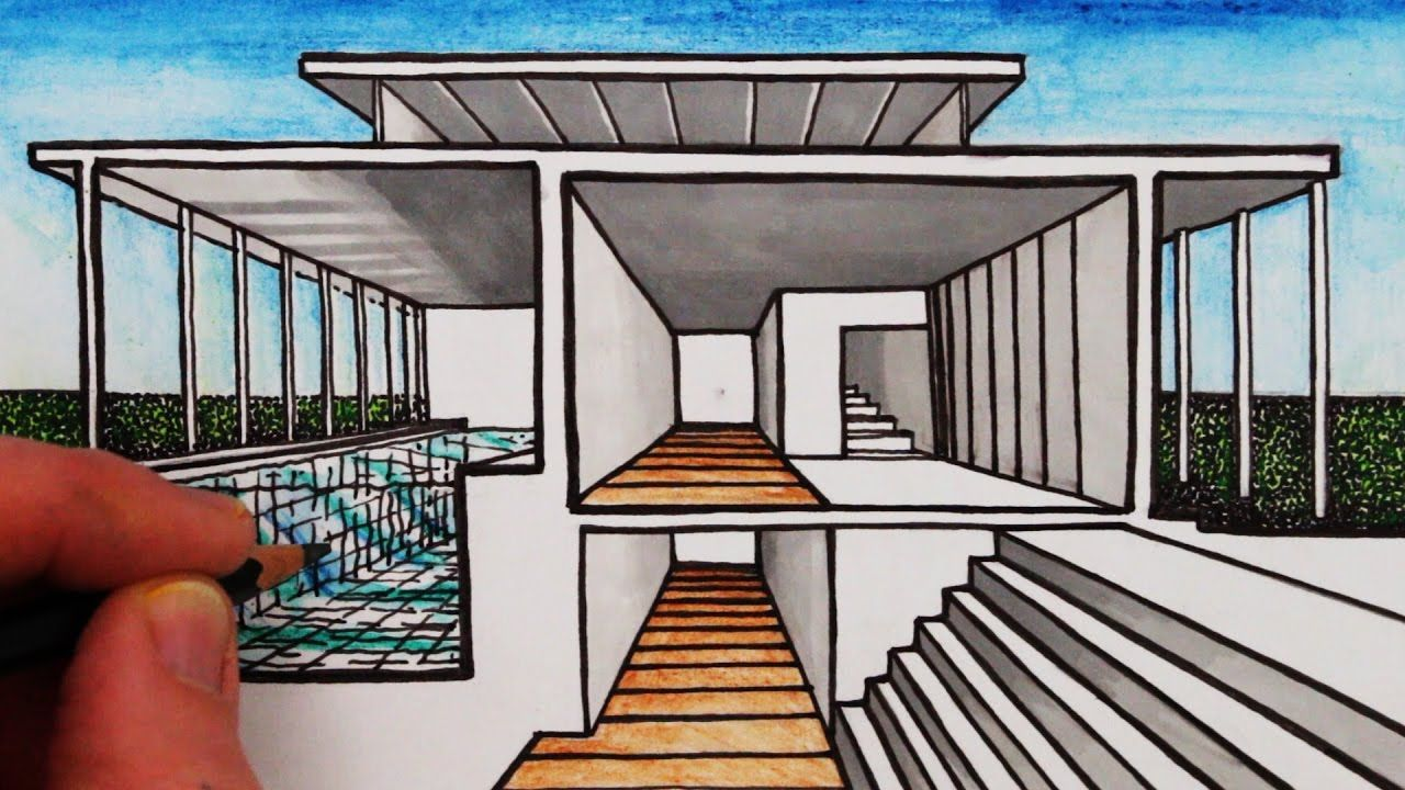 How to Draw a House in 1Point Perspective Sectional