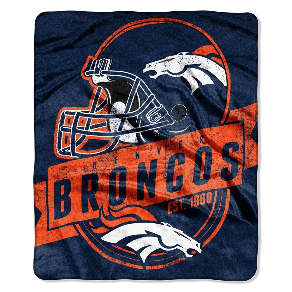 Denver broncos vintage logo raschel blanket products pinterest