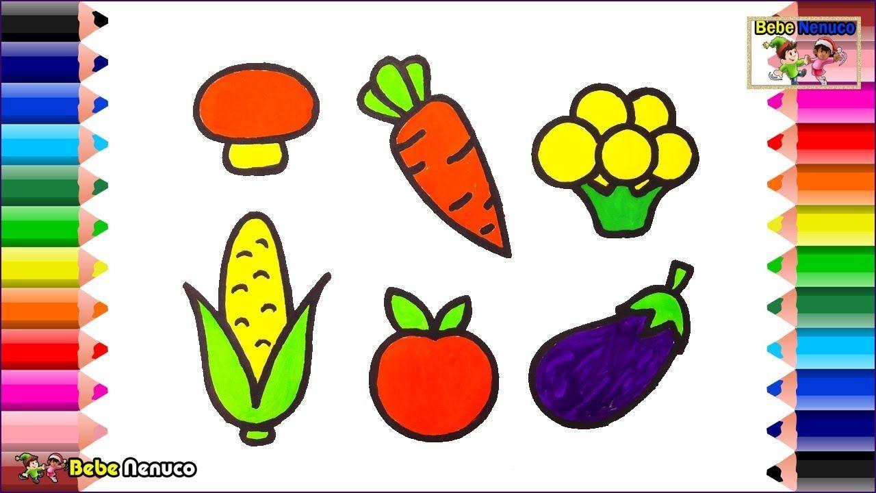 Cómo Dibujar Libro Para Colorear Pastel Para Niños: Cómo Dibujar Verduras Para Bebé Libro Para Colorear Y